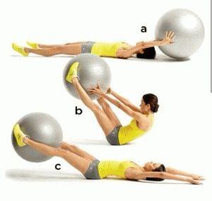 Подъём ног и рук с фитболом